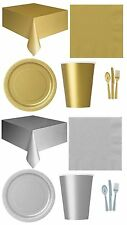 PARTY TABLEWARE (Plates/Cups/Napkins/Tablecovers/Bags/Balloons) SILVER or GOLD