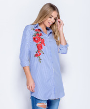 LADIES GIRLS NEW FLORAL EMBROIDERY STRIPE LOOSE BAGGY SHIRT DRESS TOP BLOUSE