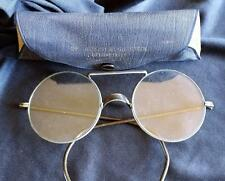 """Vtg Willson Industrial Safety Goggles Clear 2"""" Round Glasses w/ Case"""