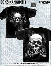 Sons of Anarchy SOA SAMCRO Smoking Skull Biker TV Jax Reaper Mens Shirt 28-616
