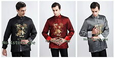 Chinese Traditional Style Men's Kung-Fu Embroidery Dragon Jacket Coat M--3XXL