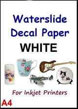 """CLEAR & WHITE A4 INKJET WATER SLIDE DECAL PAPER pack of 5 pcs 8.3"""" x 11.7"""""""