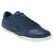 New Mens Lacoste Blue Court-Minimal Leather Trainers Lace Up