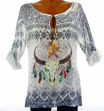 Tee shirt tunique maille boho plumes ARIZONA BLEU