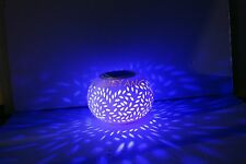 Solar Power Porcelain Jar White&RGB Light Maple leaf/Star/Tulip Waterproof Lamp