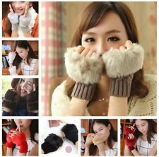 Women Warmer Faux Rabbit Fur Hand Wrist Knitted Fingerless Gloves Mittens Hotsel