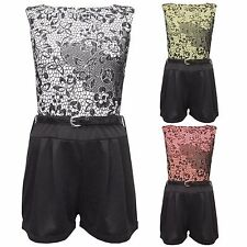 NEW WOMENS LADIES FLORAL FLOCK PRINT PLAYSUIT ALL IN ONE SHORTS DRESS TOPS SHORT
