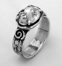 SHABLOOL 925 Sterling Silver Ring White CZ Gemstone White Solitaire Ring