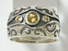 Sterling Silver 925 Ring Band Ring Champagne CZ orange Women's Ring
