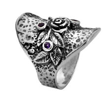 Fine 925 Sterling Silver Ring Statement Ring Amethyst CZ Purple  Ring