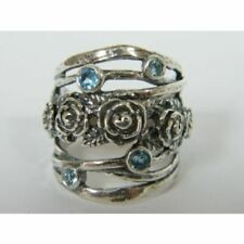 925 Sterling Silver Ring Nature Ring Blue Topaz CZ Blue Women Ring
