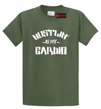 Hustlin Is My Cardio Funny T Shirt Motivational Workout Gym Tee S-5XL