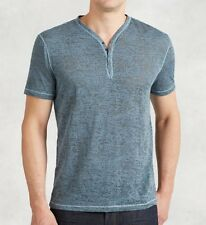 John Varvatos Star USA Men's Short Sleeve Burnout Snap Henley Blue $128 msrp NWT