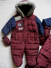 Baby Boys Quilted Warm Lined 'No 1 SON' Fur Trim Snowsuit/Mittens 0-3 6-9 months