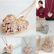 Stylish Women Plated Hollow Heart Crystal Pendant Chain Necklace Gift