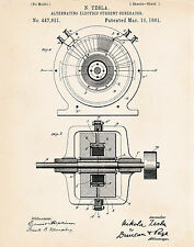 Tesla Images 1891 Patent Prints Alternating Electric Current Magnetic Generator