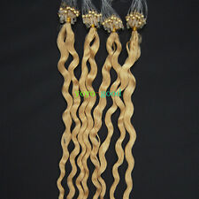"""20"""" Loop Mirco Ring Beads Tipped Remy Human Hair Extensions Curly Deep Wave #613"""