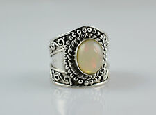 Ethiopian Fire Opal 925 Solid Sterling Silver Handmade Ring Custom Size 7.0 (US)