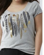 Lane Bryant Embellished Feather Gray Graphic Tee Shirt Top Plus Size 14/16 1X