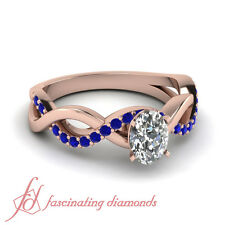 .80 Ct Oval Shaped Diamond And Blue Sapphire Gemstone Engagement Ring For Women