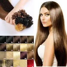 100S Brown Real human hair extensions Glue U Nail Tip Remy Pre Bonded Hair II013