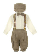 New Baby Boys Beige Brown Knickers Vintage Set Outfit Wedding Party Birthday