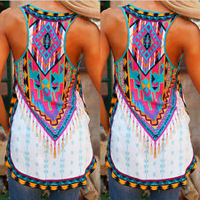 Women Girl Vest Tee Shirt Boho Blouse Casual Tank Tops Summer Sleeveless Printed
