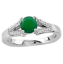 925 Sterling Silver Ring 6mm Natural Green Onyx Green Color Gemstone Ring