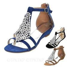 Womens Summer T Strappy Wedges Heels Flats ankle strap Sandals Large Size Shoes