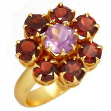 Garnet Solid 925 Sterling Silver Collectible Ring Gold Plated Size O zu30427