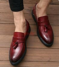 2017 England Mens Leather Tassel Brogues Slip On Loafers Casual Dress Shoes SIZE