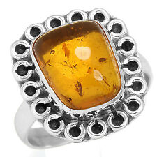 Amber Gemstone Stylish Jewelry Solid 925 Sterling Silver Ring Size O rY39715