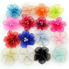 100pcs Mixed Colours Orangza Ribbon Flower With Beads Appliques Craft Sewing DIY