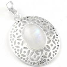 Rainbow Moonstone Pendant 925 Sterling Silver Plated Collectible Jewelry yI09652
