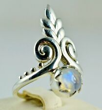 Flashy Blue Rainbow Moonstone 925 Solid Sterling Silver Handmade Ring Size 3-14
