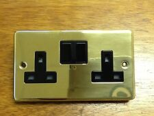 TWIN ELECTRICAL SOCKETS BRASS/ GOLD FINISH