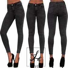 WOMENS SEXY ACID WASH GREY SKINNY FIT JEANS STRETCHY JEGGINGS TROUSER SIZE 8-14