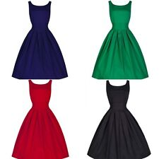 Womens 50s 60s Vintage Audrey Style Rockabilly Retro Solid Tea Party Tank Dress