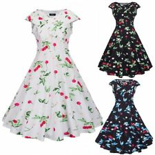 50S 60S ROCKABILLY DRESS Vintage Floral Cap Sleeve Swing Pinup Housewife Party
