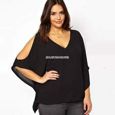 Women Batwing Cotton Long Sleeve Loose Blouse Top Pullover T-shirt Plus Size