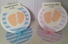 Handmade Baby Boy/Girl Congratulations Card Easel Style baby feet personalised