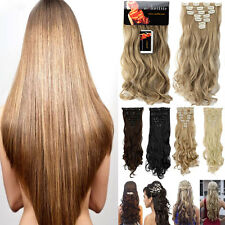 Real Thick full head clip in hair extensions curly straight 7Pieces As human US