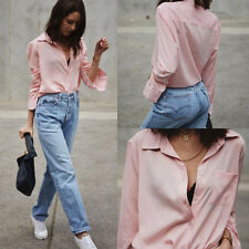 New Womens Button Down Chiffon Blouse Long Sleeve Shirts Formal Casual Tops Pink