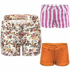 NEW WOMENS DENIM HOT PANTS FLORAL STRIPED LADIES JEANS SUMMER FESTIVAL SHORTS