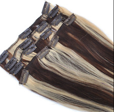 """100% CLIP IN REMY REAL HUMAN HAIR EXTENSIONS 7/8PCS 14""""-28"""" #1B #1B/613 #4/613"""