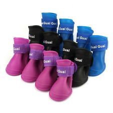 4Pcs Dog Rain Shoes Pet Boots Candy Colors Waterproof Protective Rubber Booties