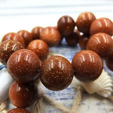 Natural Gemstone Round Spacer Loose Beads Wholesale 4-6-8-10-12mm goldstone