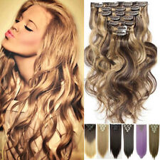 100% Natural Hair 18 Clips on in Hair Extensions 8 Pieces Full Head Long 17-26""