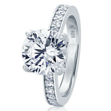 9MM Sterling Silver 2.75ct CZ Channel Setting Band Wedding Engagement Ring