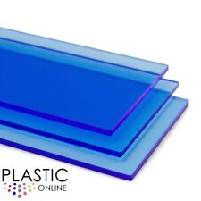Blue Fluorescent Transparent Perspex Acrylic Sheet Plastic Panel Cut to Size